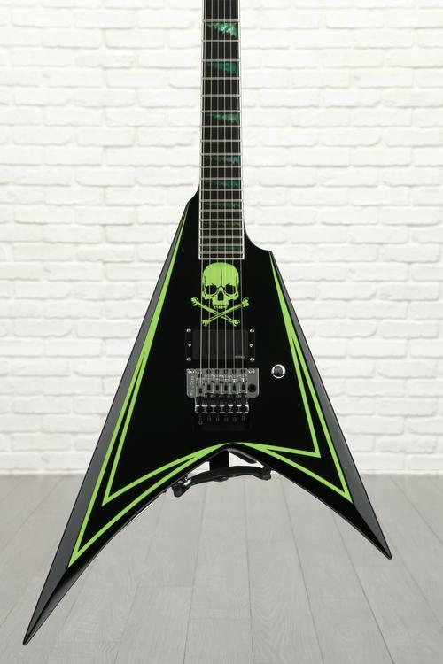 ESP LTD ALEXI-600 GREENY - Black w/ Green Skull & Stripe image 1