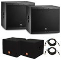 JBL EON618S Subwoofer Pair with Covers and Cables