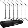 On-Stage Stands MS7701B Tripod Microphone Stand Bundle - 6 Stands + 1 Bag, Black