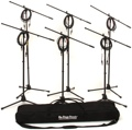On-Stage Stands MS7701B Tripod Microphone Stand Bundle - 6 Stands + 6 Cables + 1 Bag, Black
