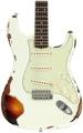 Fender Custom Shop '59 Stratocaster Heavy Relic/Closet Classic Mix - Olympic White Over 3-tone Sunburst