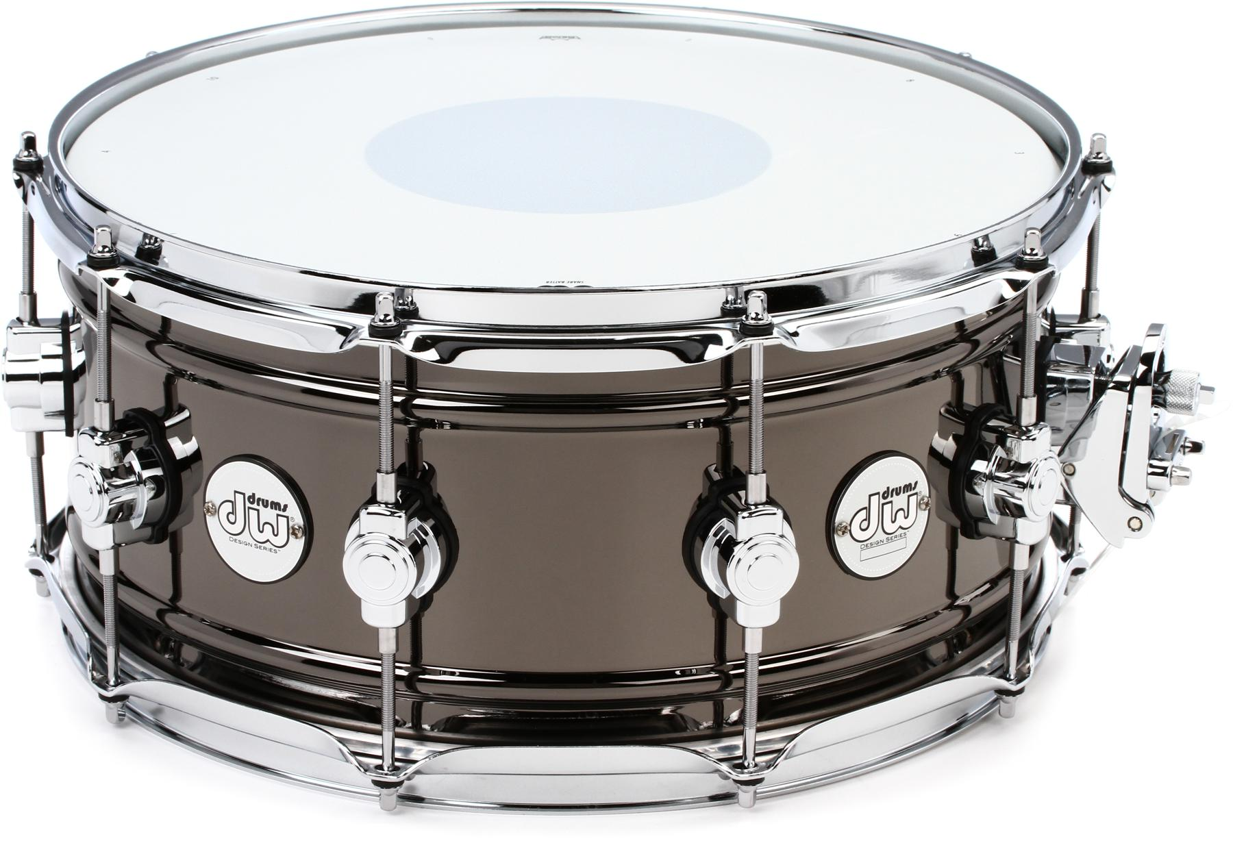 2. DW Design Series Black Nickel over Brass Snare 14 x 6.5 in