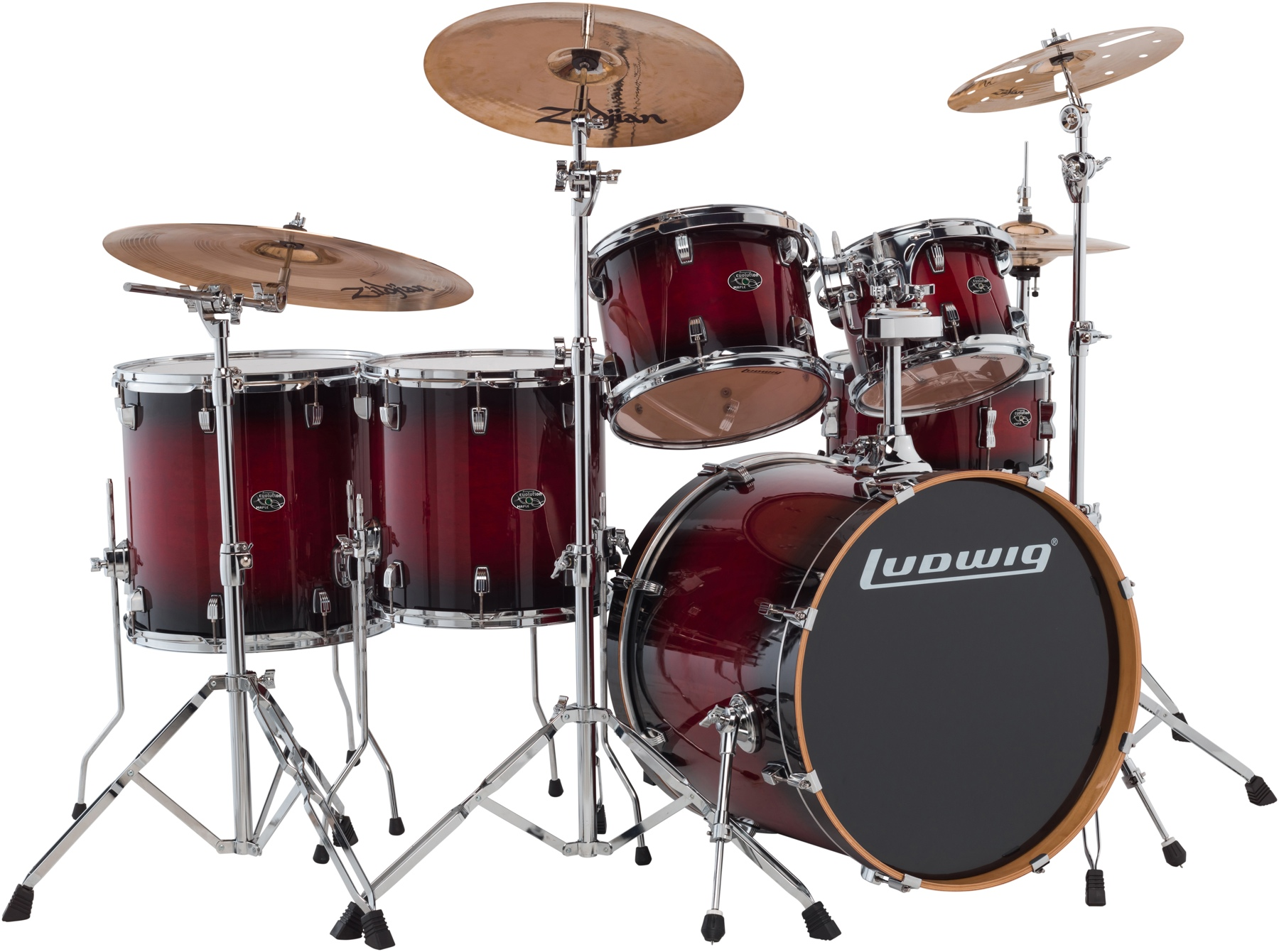 """5. Ludwig Evolution Maple 6-piece Shell pack - 22"""" - Red Burst"""