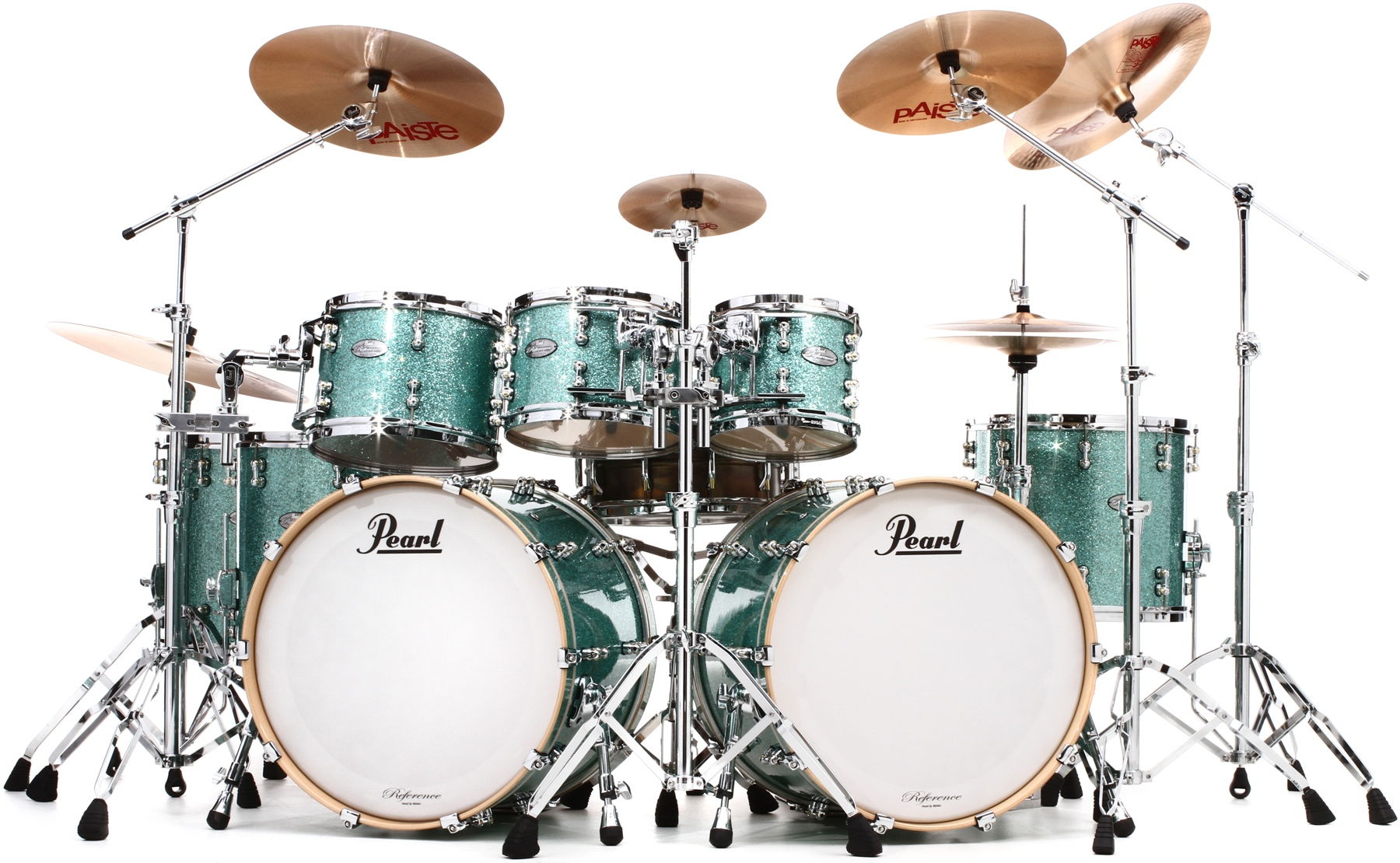 2. Pearl Music City Custom Reference Pure Double Bass Shell Pack 8-piece - Turquoise Glass