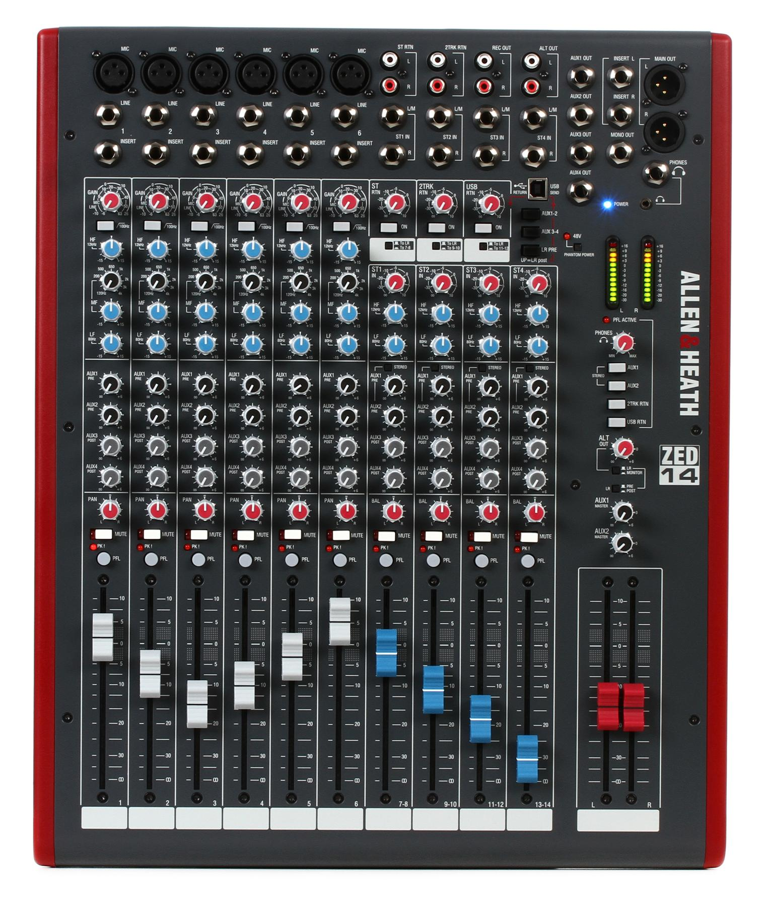 3. Allen & Heath ZED-14 14-Channel Mixer with USB Interface