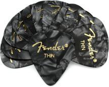 Fender Accessories 351 Shape Premium Celluloid Picks - Thin Black Moto - 12-Pack