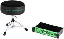 Porter & Davies BC2RM Drum Throne W/Rack Mounted Amp - Round Seat With Base