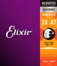 Elixir Strings Nanoweb 80/20 Acoustic Guitar Strings .010-.047 Extra Light