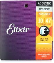 Elixir Strings Nanoweb 80/20 Acoustic Guitar Strings .010-.047 Light 12-String