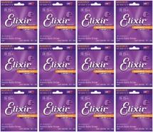 Elixir Strings 11077 Nanoweb 80/20 Bronze Light-Medium Acoustic Guitar Strings 12-Pack
