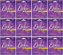 Elixir Strings 11000 Polyweb 80/20 Bronze Extra Light Acoustic Guitar Strings 12-Pack