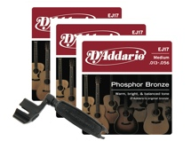 D'Addario EJ17 Phosphor Bronze Acoustic Guitar Strings - .013-.056 Med 3-Pk w/Winder