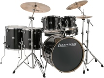 "Ludwig Element Evolution 6-pc Drumset with Zildjian ZBT Cymbals - 22"" - Black Sparkle"