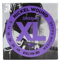 D'Addario EXL115-3D Nickel Wound Blues/Jazz Rock Electric Strings 3-Pk