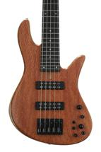Fodera Emperor Standard Special, Redwood Pinburl Top - Natural, Black Hardware, MOP dot inlay