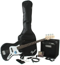 Squier Jazz Bass Pack with Rumble 15 Amplifier - Black