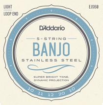 D'Addario EJS60 Stainless Steel Banjo Strings - .010-.020 Light 5-Str