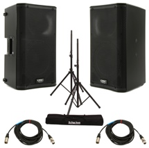 QSC K10 Speaker Pair with Stands and Cables