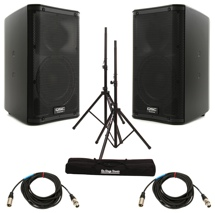 QSC K8 Speaker Pair with Stands and Cables