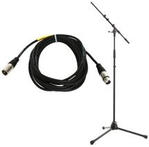 K&M KM21090 Mic Stand and Pro Co 20' Mic Cable Package - Black