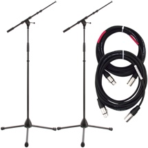 K&M 2 KM21090 and 2 ProCo 20' Mic Cables Package - Black