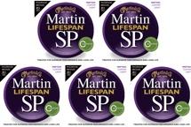 Martin MSP7050 SP Lifespan 92/8 Phosphor Bronze Custom Light Acoustic Strings 5-Pack