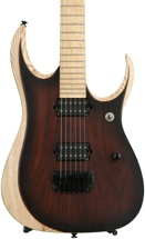 Ibanez RGDIX6MRW Iron Label, Sweetwater USA Exclusive - Charcoal Brown Burst Flat