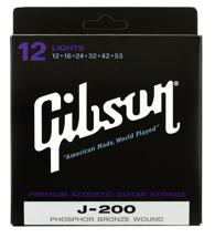 Gibson Accessories J-200L Phosphor Bronze Light Acoustic Guitar Strings