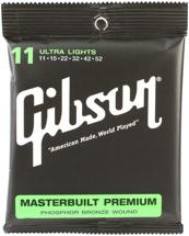 Gibson Accessories SAG-MB11 Masterbuilt Premium Phosphor Bronze Ultra Light Acoustic Guitar Strings
