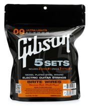 Gibson Accessories 700UL Brite Wires Electric Strings - .009-.042 - Ultra Light - 5-pk