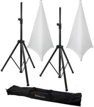 Gator Frameworks 3000 Speaker Stand, Bag and Cover Package - White