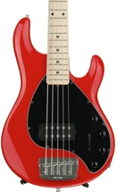 Ernie Ball Music Man StingRay 5H, Sweetwater Exclusive - Chili Red with Black Pickguard, Maple Fingerboard