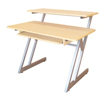 On-Stage Stands WS7500 Wooden Workstation - Maple / Gray Steel