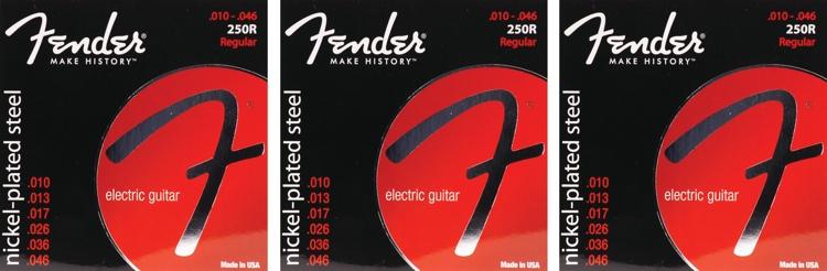 Fender Accessories Super 250R Nickel-Plated Steel Regular Electric Strings 3-Pack image 1