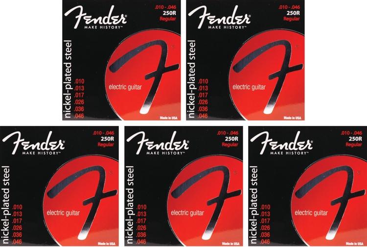 Fender Accessories Super 250R Nickel-Plated Steel Regular Electric Strings 5-Pack image 1