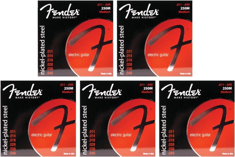 Fender Accessories Super 250M Nickel-Plated Steel Medium Electric Strings 5-Pack image 1