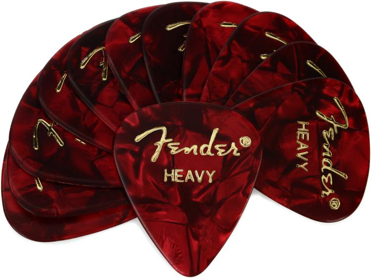 Fender Accessories 351 Shape Premium Celluloid Picks - Heavy Red Moto - 12-Pack image 1