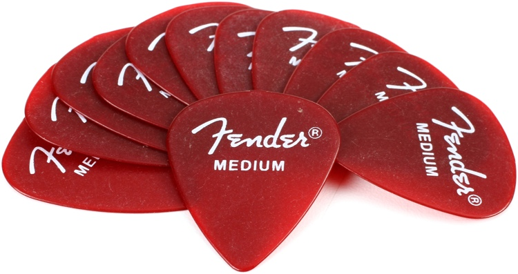 Fender California Clears Pickpack - Medium - Candy Apple Red - 12-Pack image 1