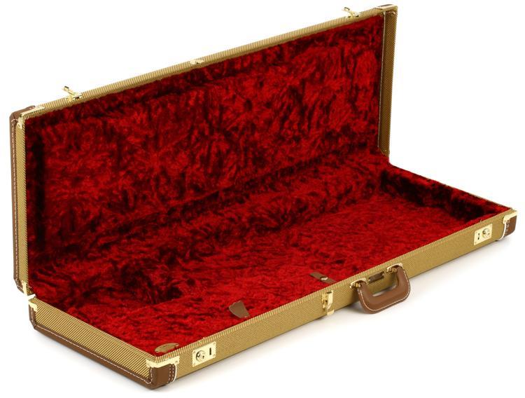 Fender Deluxe Strat/Tele Case - Tweed w/ Red Poodle Plush Interior image 1