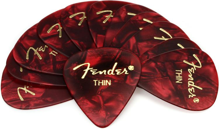 Fender 351 Premium Guitar Picks - Thin Red Moto - 12-Pack image 1