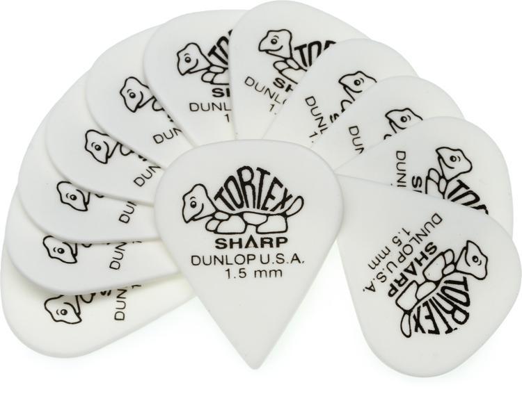 Dunlop 412P1.50 Tortex Sharp 1.50mm White Guitar Picks 12-Pack image 1