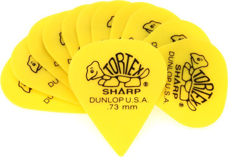 Dunlop 412P.73 Tortex Sharp .73mm Yellow Guitar Picks 12-Pack image 1