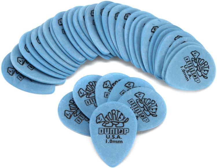 Dunlop 423R1.0 Tortex Small Tear Drop 1.0mm Blue Guitar Picks 36-Pack image 1