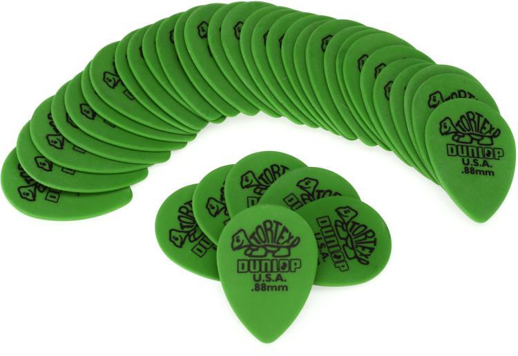 Dunlop 423R.88 Tortex Small Tear Drop .88mm Green Guitar Picks 36-Pack image 1