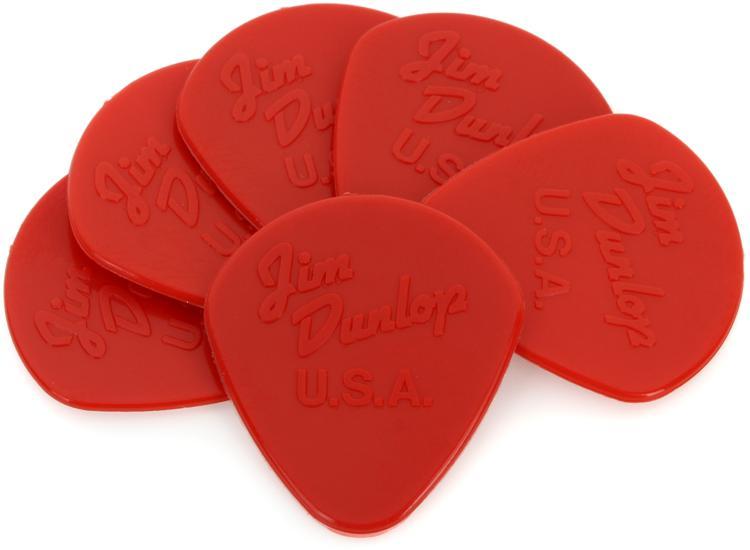 Dunlop 47P1N Nylon Jazz I 1.38mm Round-tip Guitar Picks 6-Pack, Red image 1