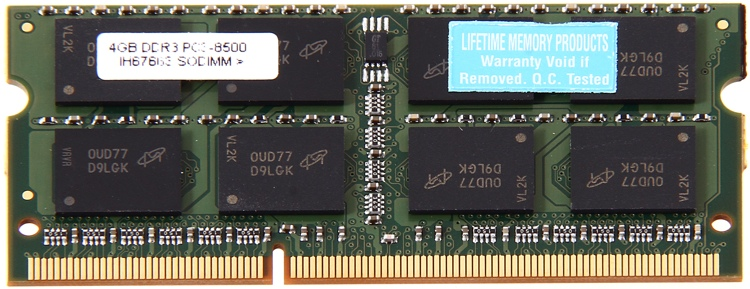 Top Tier PC3-8500 SO DIMM - 4 GB DDR3 1066MHz image 1