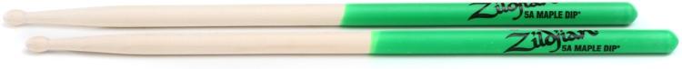 Zildjian Maple Dip Series Drumsticks - 5A, Wood Tip, Green Dip image 1