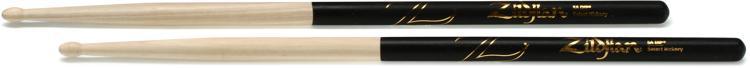Zildjian Dip Hickory Series Drumsticks - 5A - Wood Tip - Black Dip image 1