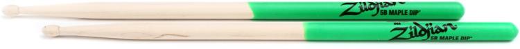 Zildjian Maple Dip Series Drumsticks - 5B, Wood Tip, Green Dip image 1