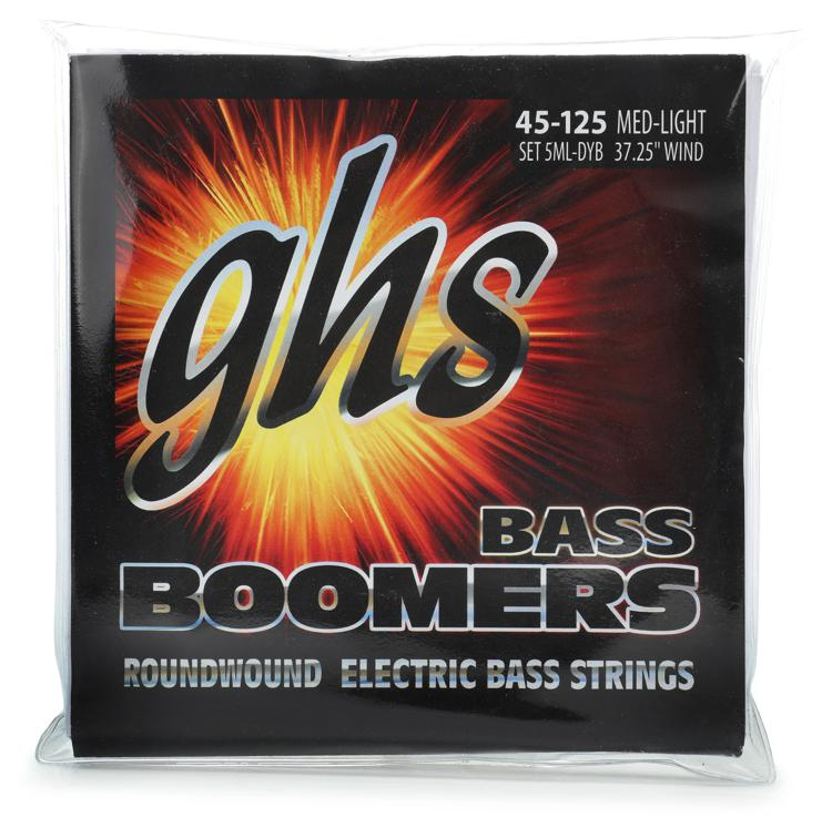 GHS 5ML-DYB Bass Boomers Roundwound Long Scale Medium Light Electric Bass Strings 5-String image 1